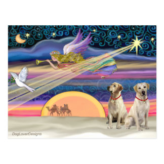 Estrella del navidad - Labradors (amarillo dos) Postal