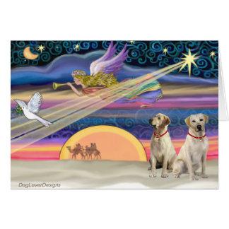 Estrella del navidad - Labradors (amarillo dos) Tarjeta De Felicitación