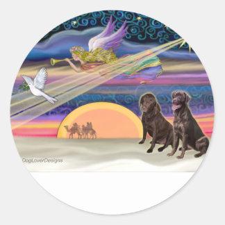 Estrella del navidad - Labradors (chocolate dos) Pegatina Redonda