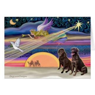Estrella del navidad - Labradors (chocolate dos) Tarjeta De Felicitación