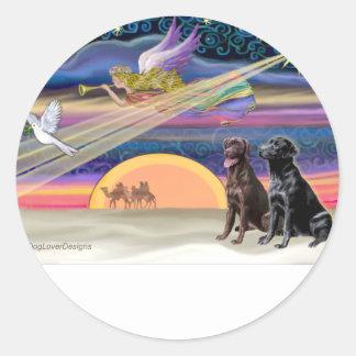Estrella del navidad - Labradors (dos, C+B) Pegatina Redonda