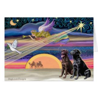 Estrella del navidad - Labradors (dos, C+B) Tarjeta De Felicitación