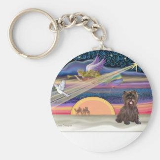 Estrella del navidad - mojón Terrier (brindle) Llavero Redondo Tipo Pin