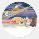 Estrella del navidad - mojón Terrier (tres) - Etiquetas Redondas