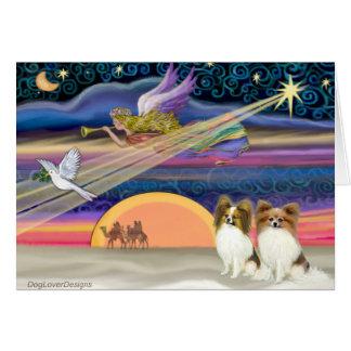 Estrella del navidad - Papillon (cervatillo dos) Tarjeta De Felicitación