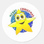 Estrella del navidad pegatina redonda