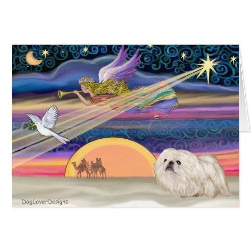 Estrella del navidad - Pekingese (blanco) Tarjeta De Felicitación
