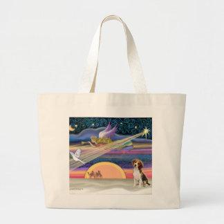 Estrella del navidad - perrito del beagle bolsa tela grande