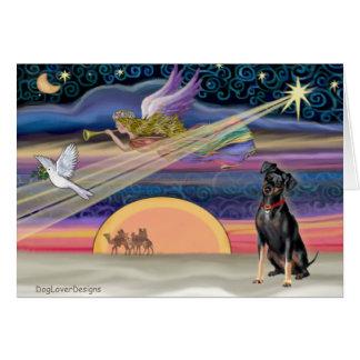 Estrella del navidad - Pinscher miniatura 1 Tarjeta De Felicitación