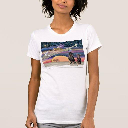 Estrella del navidad - Pinschers miniatura (dos) Camisetas