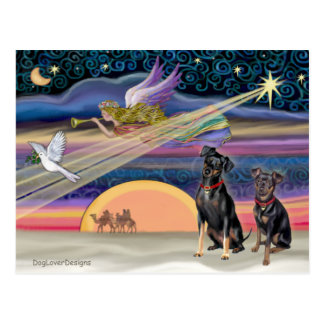 Estrella del navidad - Pinschers miniatura (dos) Tarjeta Postal