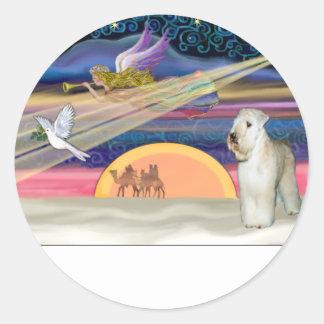 Estrella del navidad - Terrier de trigo #2 Pegatina Redonda