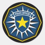 Estrella del oficial de policía etiquetas redondas