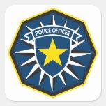 Estrella del oficial de policía calcomanías cuadradas