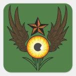 Estrella del ojo que vuela pegatina cuadrada