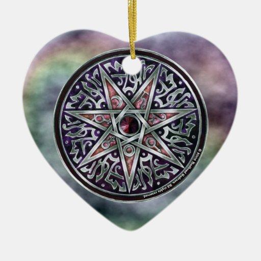 Estrella del ornamento vidente del corazón adorno navideño de cerámica en forma de corazón