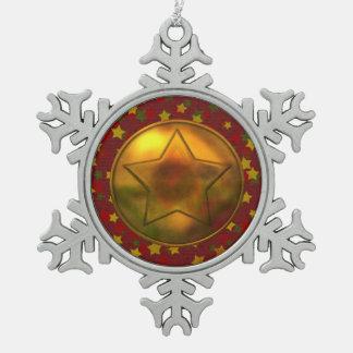 Estrella del oro adorno de peltre en forma de copo de nieve