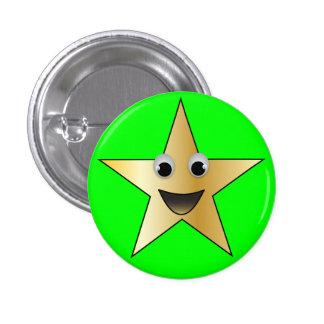 Estrella del oro con la cara sonriente pin redondo de 1 pulgada