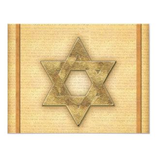"""Estrella del oro de DIY de la plantilla de Mitzvah Invitación 4.25"""" X 5.5"""""""