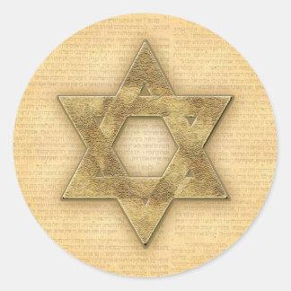 Estrella del oro de DIY de la plantilla de Mitzvah Pegatina Redonda