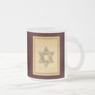 Estrella del oro de DIY de la plantilla de Mitzvah Taza De Cristal