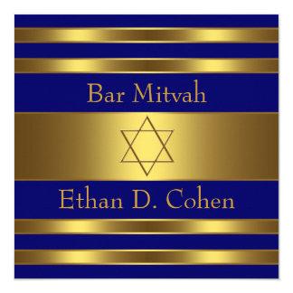 """Estrella del oro de los azules marinos de la barra invitación 5.25"""" x 5.25"""""""