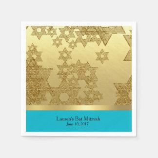 Estrella del oro de Mitzvah del palo de David con Servilletas Desechables