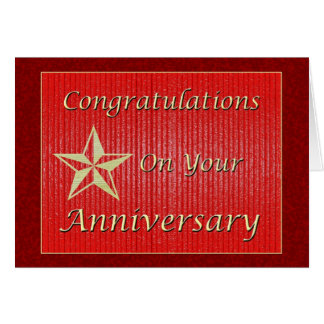 Estrella del oro del aniversario del empleado tarjeta de felicitación