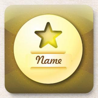 Estrella del oro del icono del práctico de costa d posavasos de bebidas