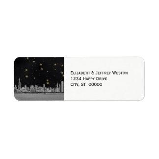 Estrella del oro del negro del horizonte de Chicag Etiqueta De Remite