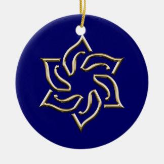 Estrella del oro del ornamento de David Jánuca Adorno Redondo De Cerámica