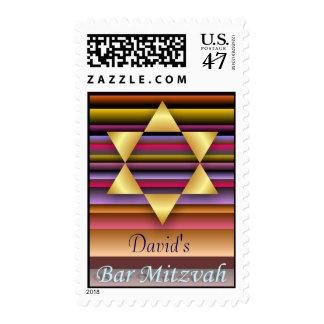 Estrella del oro del sello de Mitzvah de la barra