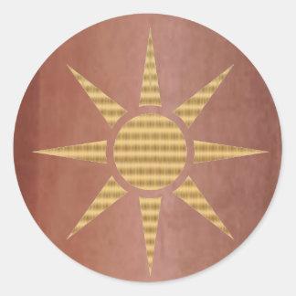 Estrella del oro en el cobre exótico etiquetas redondas