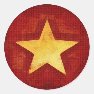 estrella del oro pegatina redonda