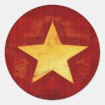 estrella del oro pegatinas redondas