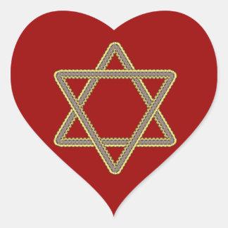 Estrella del oro y de la plata de David para el Pegatina En Forma De Corazón