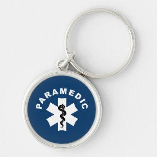 Estrella del paramédico de la vida llavero redondo plateado