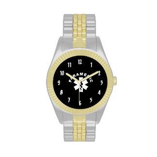 Estrella del paramédico de la vida relojes de pulsera