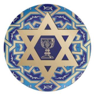 Estrella del Passover del diseño de David y de la Plato De Comida