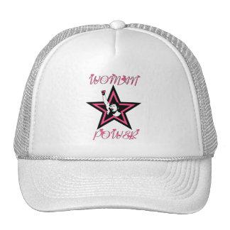 Estrella del poder de la mujer en rosa gorra