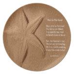 Estrella del poema de la placa en la arena por el  plato de comida