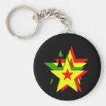 Estrella del reggae llavero redondo tipo pin