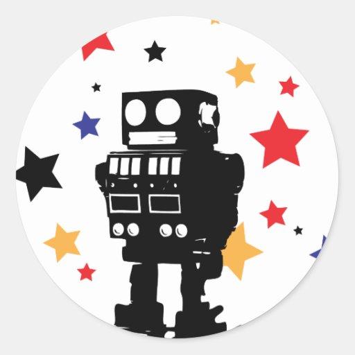 Estrella del robot etiquetas redondas