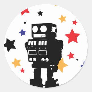Estrella del robot pegatina redonda