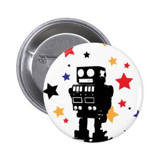 Estrella del robot pin redondo de 2 pulgadas