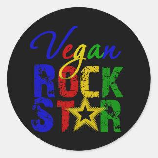 Estrella del rock 2 del vegano pegatina redonda