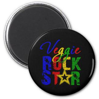 Estrella del rock 2 del Veggie Imán Redondo 5 Cm