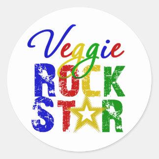 Estrella del rock 2 del Veggie Pegatina Redonda