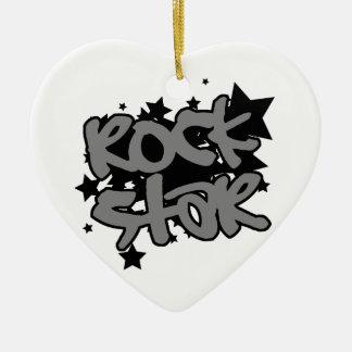 Estrella del rock adorno navideño de cerámica en forma de corazón