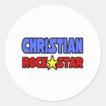 Estrella del rock cristiana etiqueta redonda